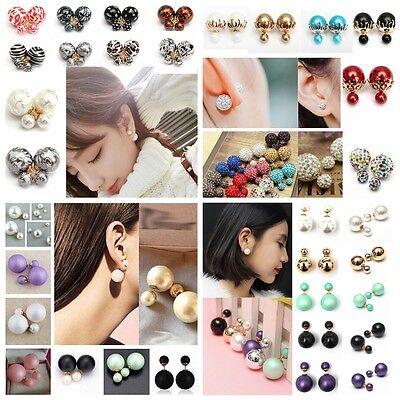 Mode Boucles D'oreilles Boule Double Perles Clou Earrings Bijoux Femme Celebrite