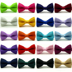 Boy-Child-Kids-Solid-Candy-Color-Satin-Pre-tied-Bow-Tie-Wedding-Party-Bowties