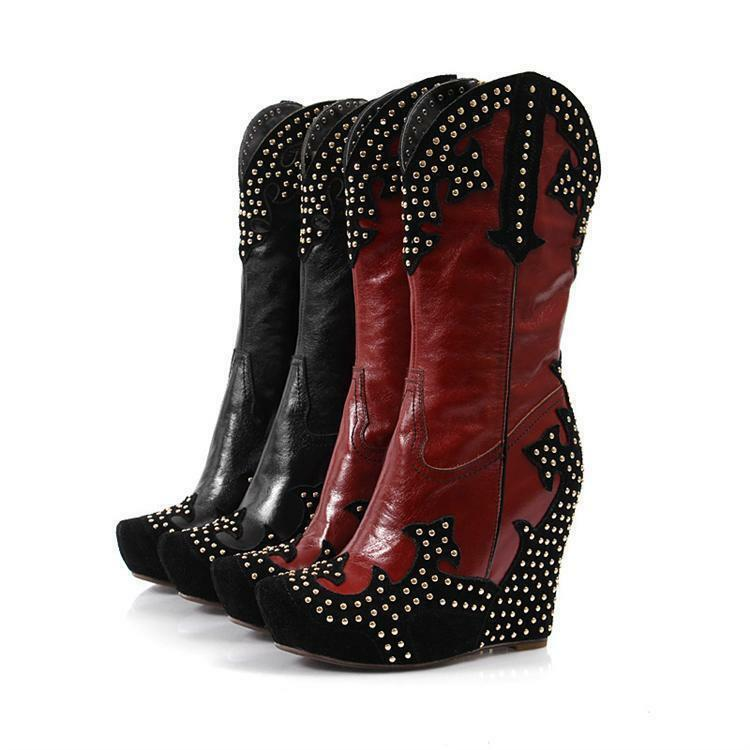 New Womens Vintage Wedge Heel Rivet Leather Zipper Cowboy Mid Calf Riding Boots
