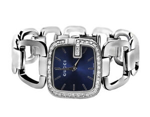509f6436460 Swiss Made G-Gucci YA125405 Blue Dial 2CT Genuine Diamond Stainless ...