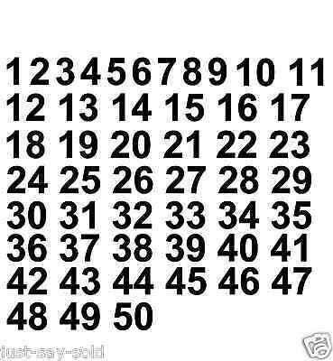 1 - 50 Numbers Set of Vinyl Decals - Helmet, Sport,Stickers- Select Color & Size