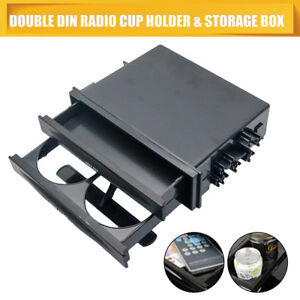 Universal-Double-Din-Radio-Pocket-Drink-Cup-Holder-Storage-Box-for-Car-Truck