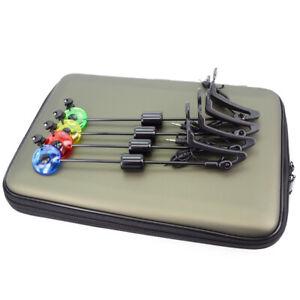 Carp-Fishing-Swinger-Set-Led-Illuminated-Drop-Off-Indicator-4pcs-In-Zipped-Case