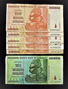 Details About 6 Zimbabwe Banknotes 1 X 10 Trillion 5 50 Billion Dollars Paper Money Currency
