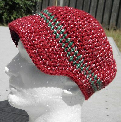 Trendy Large Dark Red/Green Crocheted Beanie with a Visor - Handmade by Michaela