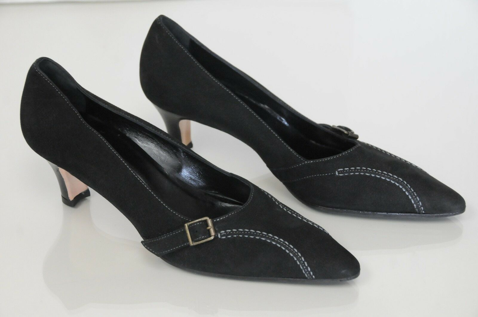 775 NEW MANOLO BLAHNIK BLACK NUBUCK Leather PUMPS BUCKLE HEELS SHOES 37 39
