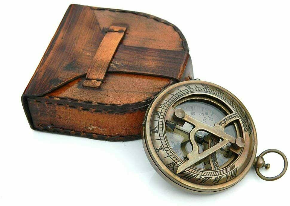 Nautical Antique Brass Sundial Compass W Leather Cover - Working Vintage Replica