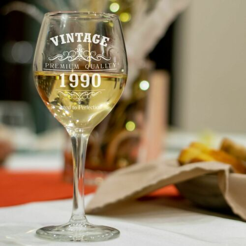 Vintage 1990 30th Birthday Wine Glass