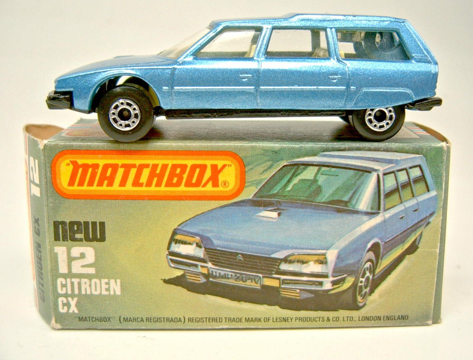 Matchbox SF 12d Citroen CX bluee Metallic Black Base Plate Top In Box