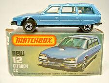 Matchbox SF 12D Citroen CX blaumetallic schwarze Bodenplatte top in Box