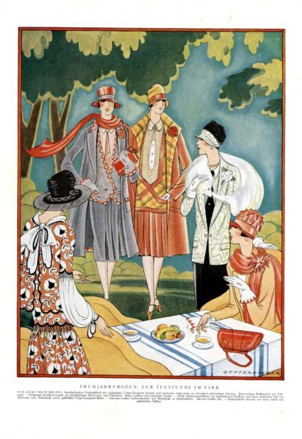Mode 20er Jahre Teatime im Park XL Modezeichnung 1927 Annie Offterdinger * Hanau