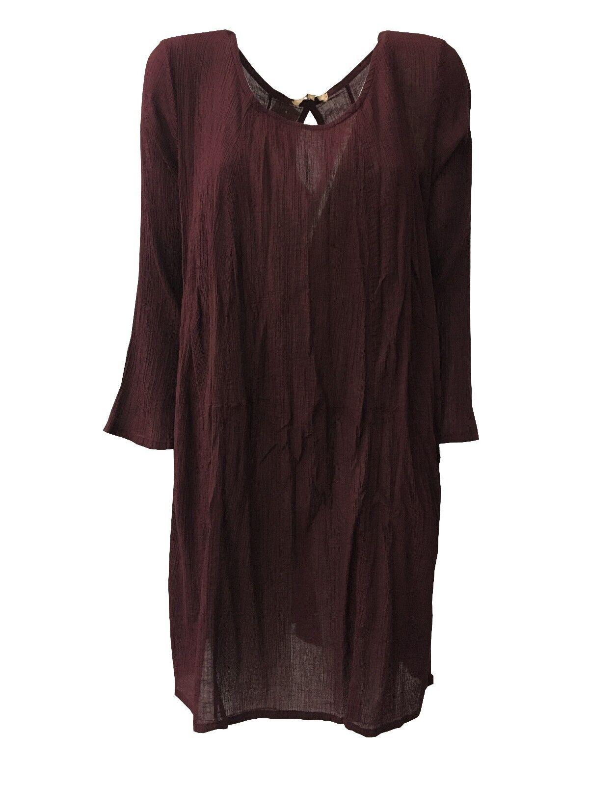 HUMILITY 1949 vestido women garza arrugado burdeos con bolsillos lateral HA6073
