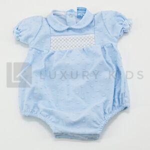 Pagliaccetto Intero In Cotone Azzurro Con Punto Smock Neonato Sardon HA369