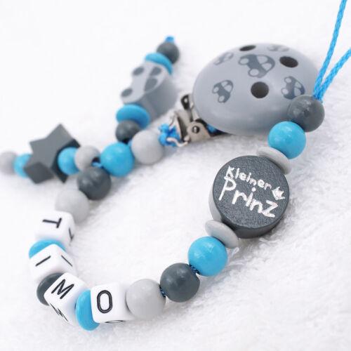 Schnullerkette mit Namen ★ Prinz /& Auto ★ Junge grau blau Geburt Baby Geschenk