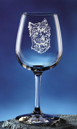Personalized West Highland Terrier Pet Dog Etched Wine Glass 12.75oz
