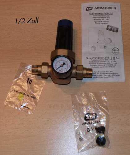 SYR Druckminderer TYP 315AB Rotguß incl Manometer hochwertiger Druckminderer