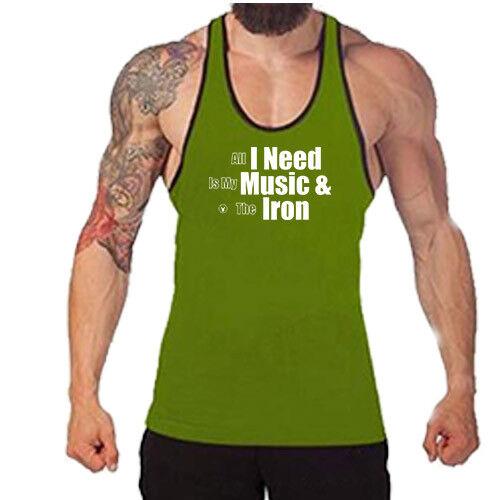 Gym Singlets MUSIC AND IRON Gym Rabbit TankTop Stringer Bodybuilding Lift D221