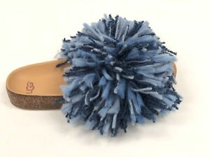 8d0a27dd3bb Details about UGG Australia CINDI YARN FRINGE CORK SOLE SLIDE SANDALS DARK  DENIM BLUE 1020079