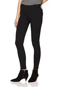 DAILY-RITUAL-Seamed-Front-2-Pocket-Ponte-Knit-Leggings-Womens-Sz-S-Black-Regular