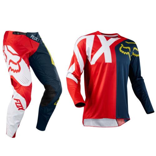 Fox Racing 360 Motocross Mx Kit Pantaloni Jersey Preme Navy//Rosso