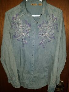 Wrangler-Medium-Shirt-Pearl-Snap-Western-Stone-Washed-Blue-Embroidered-Womens