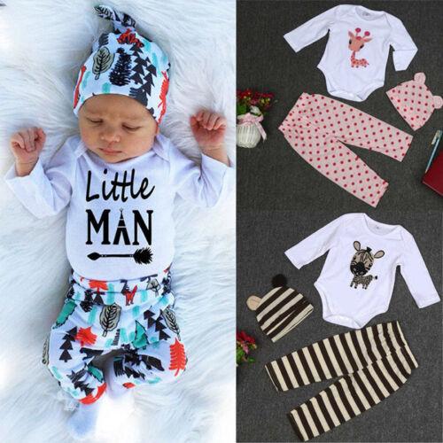 Newborn Baby Boys Girls Long Sleeve Deer Romper Top+Pants+Hat Outfits Set 2019