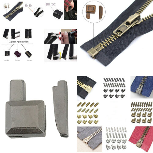 20Sets #5 Metal Zippers Latch Slider Retainer Bottom Stopper Insertion Pin