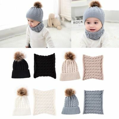 2Pcs Baby Winter Fur Ball Knitted Warm Beanie Ear Protect Cap O Ring Scarf Set