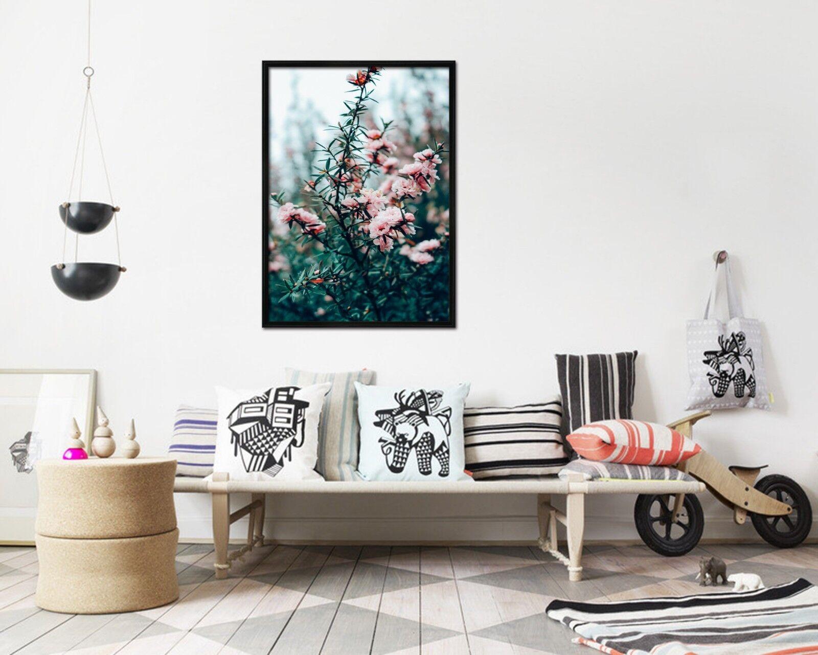 3D Blaumen Baum Niederlassung 3 Gerahmt Poster Daheim Dekor Drucken Malerei Kunst