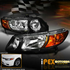 PREMIUM Quality 2006-2011 Honda Civic 2Dr Coupe JDM Black Headlights Headlamp