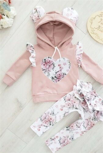 UK Newborn Baby Girl Hooded Top Shirt Ruffle Pants Trousers Outfit Clothes 2PCS