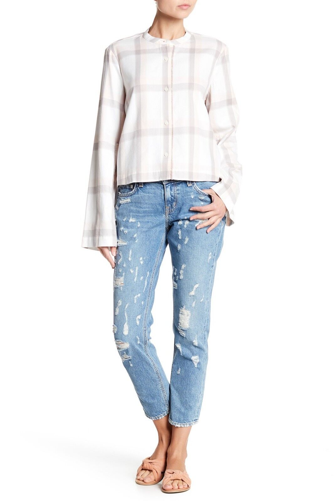 10 CROSBY DEREK LAM Mila Distressed Mid Rise Girlfriend Jeans Size 29 NWT  325
