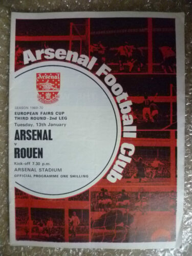 196970 ARSENAL v ROUEN, 13 January European Fairs Cup 3rd RD,2nd Leg