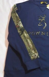 Mossy Oak Camo Camouflage Sweatshirt Browning Men/'s Navy Blue Hoodie