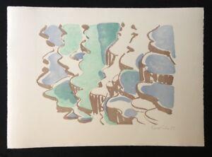 Silke Leverkühne, paesaggio acqua, litografia, 1994, firmato a mano e DAT
