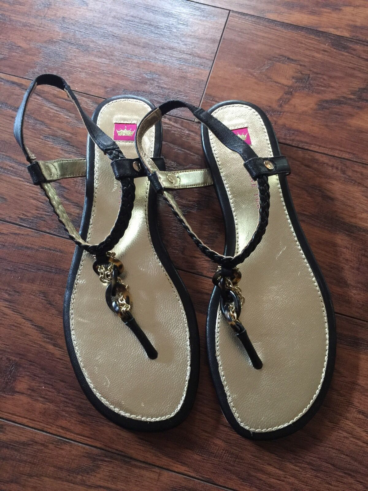New ELAINE TURNER Ankle Sandals T Strap Thong Leather Sandals Ankle Gold Chain Black 6.5 497dad