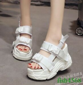 e4dfa3afd2bc Image is loading Womens-Very-High-Wedge-Heels-Summer-Creepers-Platform-