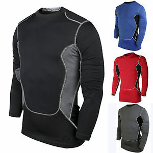 Mens Long Sleeve Compression Under Base Layer Shirt Tights Gym Running Top S-2XL