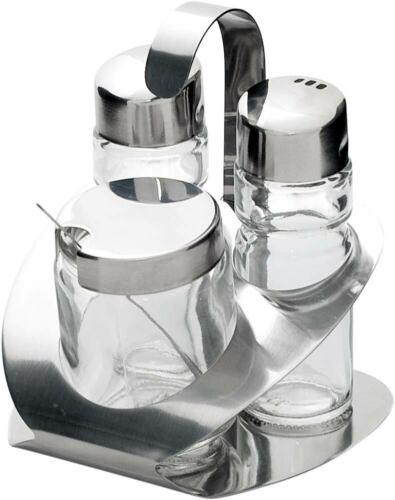 Menage 3 teilig Salzstreuer Senfglas Höhe 115 mm Pfefferstreuer
