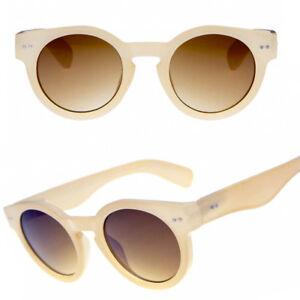 klassisch beige dick rund steampunk dunkele Linse 50s Jahre Sonnenbrille 40s YkLvHN5d