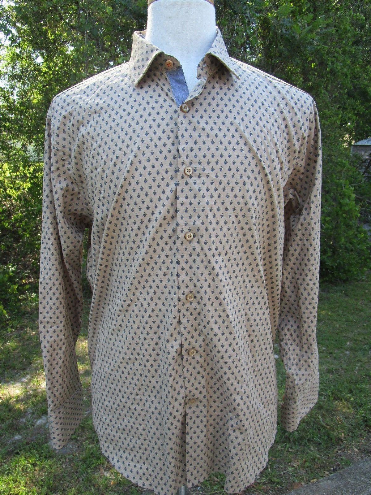 Tallia Mens Shirt Size L 16,1 2 Brown Grey Flowers Floral Pattern Flip Cuff
