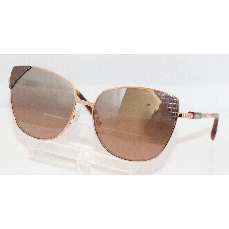 New Women's Chopard SCHC41 8FCX Brown Ceramic & Rose Gold Sunglasses