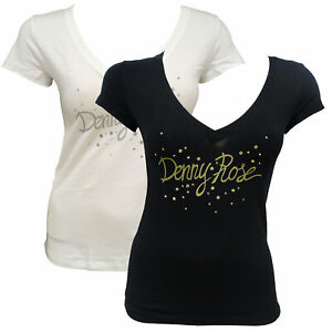 T-shirt Maglia Maniche Corte V Neck Scollo a V DENNY ROSE Donna Woman Bianco Whi
