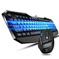 UK Aula BEFIRE Blue-Ray Backlit Gaming Keyboard +7D 2000DPI Usb Gaming Mouse SET