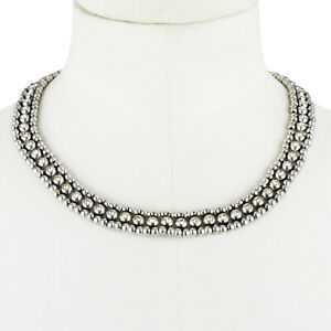Philippe Audibert Silver Crystal Collar Necklace