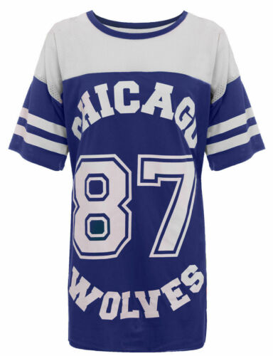 Women/'s Ladies 87 Chicago Wolves Printed Cotten Oversize Loose Baggy T-Shirt