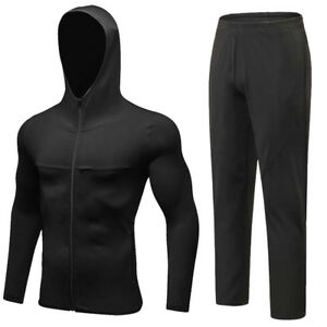 Men-039-s-Workout-Hoodie-Zipper-Pockets-Pants-Sports-Fitness-Running-Long-Trousers