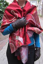 red taffetasilk/scarf, wrap, rimpa embroidery/ organza/58 insx19 ins .wallhangin