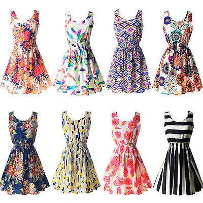 Lady Vintage Swing Rockabilly Sleeveless Retro Casual Chiffon Mini Dress UK 6-14