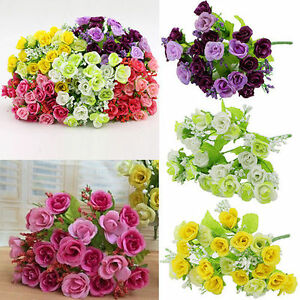 One Bouquet Rose Fleur Artificielle Plastique Soie Mariage Bureau